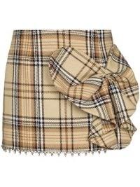 AREA Heart Bow check-pattern miniskirt / beige checked mini skirts