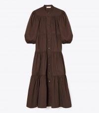 TORY BURCH ARTIST BUTTON-FRONT DRESS DEEP CHOCOLATE ~ brown cotton balloon sleeve tiered midi dresses ~ romantic fashion
