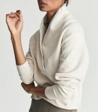 REISS ASTRID SHAWL COLLAR LOUNGEWEAR SWEATSHIRT IVORY / womens chic sweatshirts / stylish sweat tops / women's lounge fashion