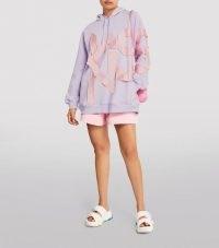 AZ FACTORY Satin-Detail Kiss Hoodie / lilac slogan hoodies / womens longline hooded tops