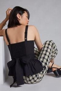 Mare Mare Flounced Bow-Tie Cami Black ~ peplum hem camisole tops ~ back detail fashion