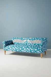 Florence Balducci Peacock Sofa ~ blue floral and bird print sofas ~ stylish lounge furniture ~ vibrant living / sitting room furnishings ~ Anthropologie Home
