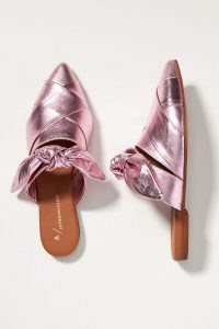 ANTHROPOLOGIE Woven Bow Mules Pink ~ metallic point toe slip on shoes ~ open back flats