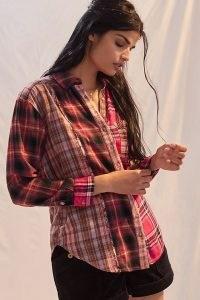 Pilcro Relaxed Tunic Shirt / womens mixed check print shirts