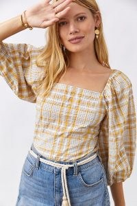 Maeve Checked Square-Neck Blouse / square neck puff sleeve blouses