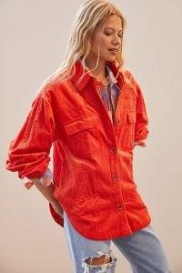Maeve Corduroy Shirt Jacket / bright orange textured cord shackets