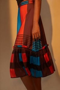 Eva Franco Striped Midi Skirt | ruffle trim tiered hem skirts