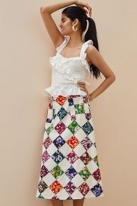Tiny Patchwork Midi Skirt | A line patch print skirts | front pocket detail