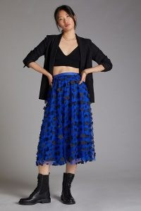Maeve Floral Tulle Midi Skirt Blue | romantic sheer overlay floral applique skirts | feminine fashion