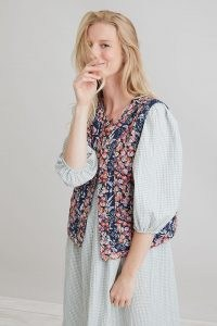Anthropologie Mixed-Print Quilted Waistcoat   womens floral waistcoats   women's vintage inspired fashion