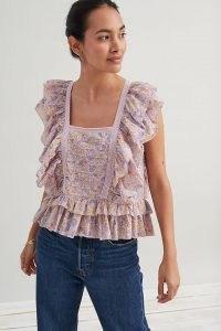 Jennifer and Grace Josepha Ruffle-Sleeve Blouse Purple Motif ~ romantic ruffled floral blouses ~ feminine tops