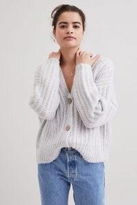 ANTHROPOLOGIE Florence Ribbed Cardigan Light Grey ~ women's chunky V-neck cardigans