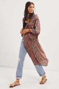 ANTHROPOLOGIE Paisley Shine Kimono in Pink ~ ruffled kimonos ~ womens floaty ruffle trim outerwear