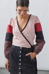 Forever That Girl Colourblocked Wrap Blouse / womens tonal colour block tops