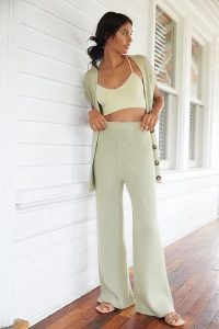 Daily Practice by Anthropologie Ribbed Knit Lounge Set Green / women's loungewear sets / knitted trousers and cardigan top / womens knitwear co ords
