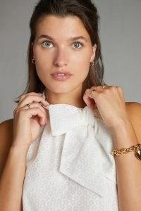 Maeve Bow-Tie Blouse White ~ sleevless high neck blouses ~ feminine fashion