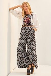 ANTHROPOLOGIE Embroidered Wide-Leg Jumpsuit ~ bohemian strappy floral all-in-one ~ boho jumpsuits