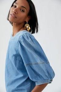 Pilcro Puff-Sleeved Denim Blouse ~ blue boho blouses