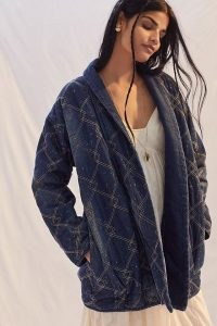 Pilcro Quilted Denim Kimono Jacket ~ womens casual dark blue open front jackets