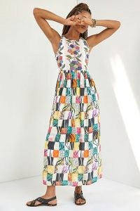 Let Me Be Quilted Patchwork Maxi Dress ~ sleeveless long legnth mixed print dresses