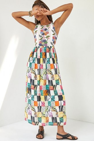 Let Me Be Quilted Patchwork Maxi Dress ~ sleeveless long legnth mixed print dresses - flipped