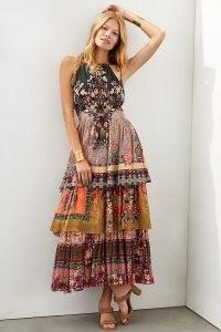 Bhanuni by Jyoti Tiered Halter Maxi Dress ~ beautiful multi print layered dresses ~ bohemian halterneck fashion ~ floral boho clothing