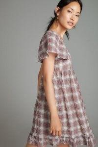 Maeve Flutter-Sleeved Mini Dress / checked fluttery short sleeve frill hem dresses / romantic check print fashion
