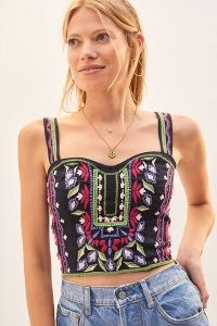 Anthropologie Embroidered Crop Top Black Motif | floral cropped bustier style tops