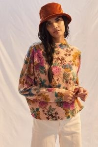 Anthropologie Alani Cashmere Mock Neck Jumper Pink Combo ~ luxe floral jumpers ~ womens feminine knitwear