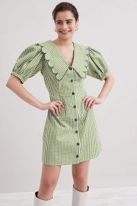 Resume Finley Mini Dress Green / gingham print puff sleeve oversized collar dresses / statement scalloped edge collars