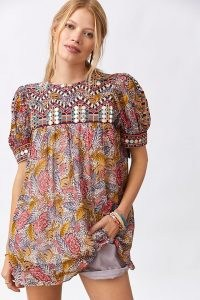 Verb by Pallavi Singhee Embroidered Tunic Blouse / puff sleeve floral bohemian blouses / boho tops