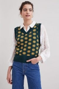 Resume Sweater Vest / floral knitted vests / womens retro tank tops / women's vintage inspired tanks