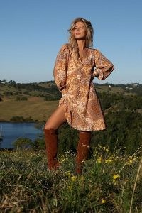 Kachel Zola Buttoned Dress / paisley and floral print retro dresses / women's vintage inspired fashion