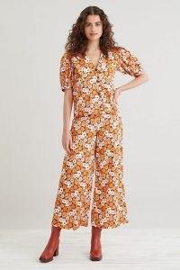 Resume Falke Trousers Orange Motif / womens floral culotte style trouser / wide crop hem retro pants / women's vintage inspired fashion