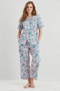 Dilli Grey Winter Jasmine Trouser Pyjama Set in Pink / womens floral pyjamas / women's organic cotton PJs / sleepwear sets