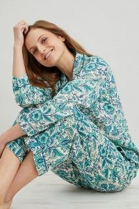 Dilli Grey Mumtaz Trouser Pyjama Set / women's floral PJs / womens pyjamas / 100% organic cotton sleepwear sets
