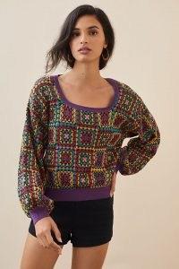 Farm Rio Crochet Jumper | womens 70s inspired jumpers | women's retro knitwear