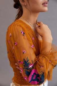 ANTHROPOLOGIE Smocked Tulle Blouse Gold / embroidered floral blouses / semi sheer ruffled blouses / romantic style fashion