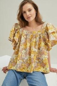 Stella Nova Esi Blouse Yellow / floral layered sleeve blouses / feminine square neck tops / vintage inspired prints