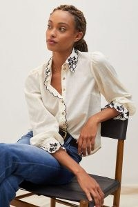 ANTHROPOLOGIE Embroidered Buttondown Shirt / womens feminine scalloped edge shirts