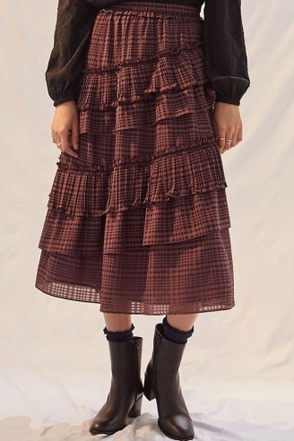 Current Air Tiered Midi Skirt Purple / check print ruffled layered skirts - flipped