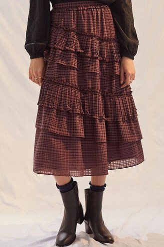 Current Air Tiered Midi Skirt Purple / check print ruffled layered skirts