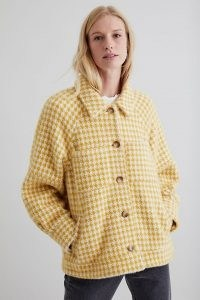 ANTHROPOLOGIE Greylin Houndstooth Jacket Yellow / womens casual textured dogtooth check jackets