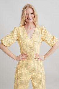 ANTHROPOLOGIE Gingham V-Neck Blouse Yellow / puff sleeve check print blouses