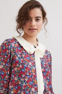 Fresha London Ula Shirt Red / womens floral vintage inspired peter pan collar shirts