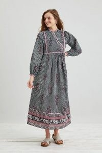 Dilli Grey Nadia Midi Dress Black Motif / long sleeve mandarin neck dresses / women's organic cotton fashion / floral print clothing