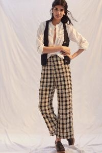 Find Me Now LaLa Flared Plaid Trousers / womens check print wide leg tousers