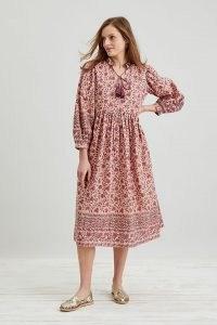 Dilli Grey Bianca Midi Dress in Rose / pink floral print tasseled tie neck dresses / womens organic cotton fashion