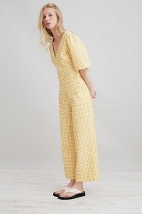 ANTHROPOLOGIE Gingham Wide-Leg Trousers Yellow / womens checked warm weather trousers