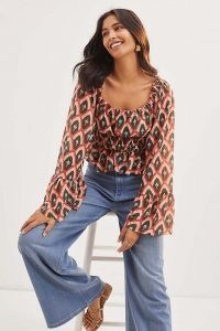 Hutch Smocked Puff-Sleeve Blouse – peasant wide sleeve blouses – printed boho style tops